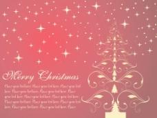 金色的花型圣诞树的星星背景