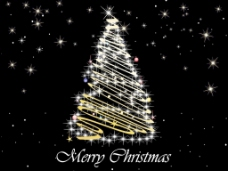 黑色闪星背景装饰圣诞树