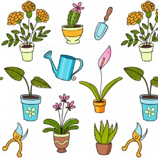 卡通盆栽模板