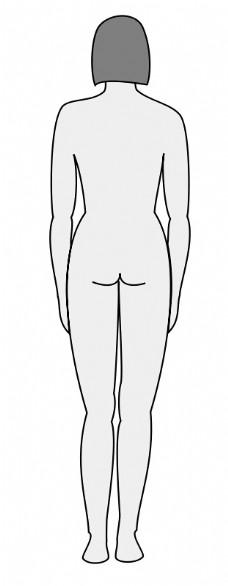 女性的身体轮廓的背