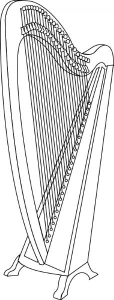 手绘工业设计图竖琴