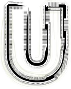 技术字体字母U