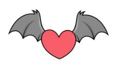 蝙蝠的翅膀-万圣节插画矢量飞行邪恶的心