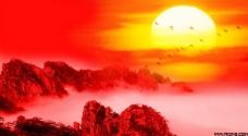 高山太阳红色背景