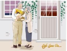 抱鲜花的夫妇