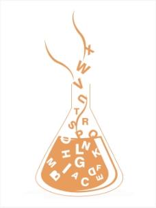 在字母表的孤立的烧杯背景
