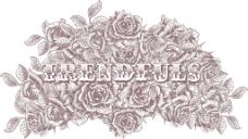 老式的矢量T恤设计与玫瑰
