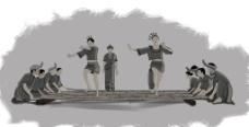 手绘竹竿舞图片