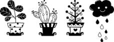 盆栽和雨朵