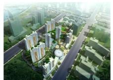 高层住宅区鸟瞰效果图图片