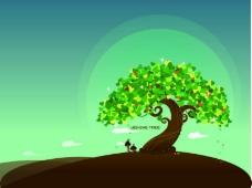 梦幻许愿树矢量素材