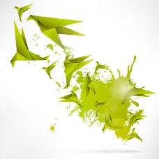 绿色纸鹤背景矢量