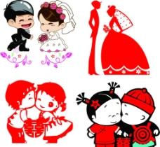 各种卡通新郎新娘图片