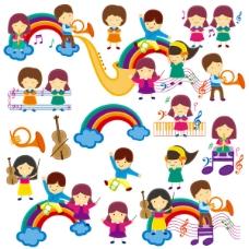 可爱卡通儿童音乐课设计矢量图