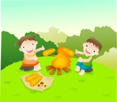 小朋友營火烤玉米