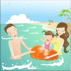 幸福家庭海邊戲水