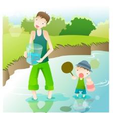 父子河邊抓蝌蚪