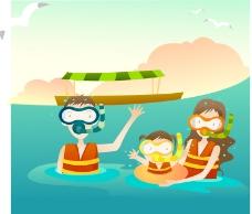 家庭海邊活動浮潛