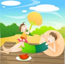父女度假生活吃西瓜乘涼
