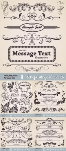 欧式花纹古典边框字体设计