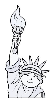 自由女神像卡通矢量图