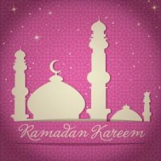 黄金的清真寺和明星卡里姆慷慨斋月斋月矢量格式的卡