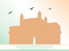 印度堡门和会飞的乌鸦对印度国旗背景