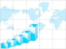 商业图形和世界地图白色隔离