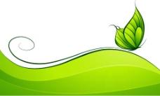 绿色蝴蝶和动感线条矢量素材