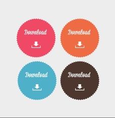 彩色圆形下载标贴矢量素材