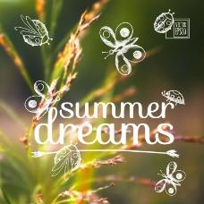 夏日的梦手绘背景矢量素材