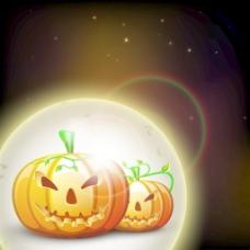 横幅或背景与可怕的南瓜在万圣节派对闪亮的棕色背景的夜晚