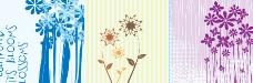 无框画 三联画 花卉树叶