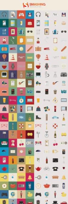 扁平化彩色生活元素图标素材