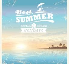 暑假海报矢量素材