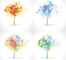 由时尚元素矢量素材的树