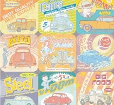 复古汽车海报矢量素材