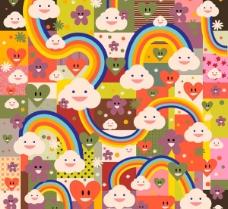 卡通彩虹云朵背景