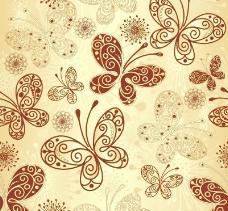 金色的蝴蝶圖案背景矢量素材