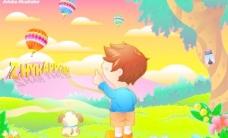天真的儿童彩色卡通世界矢量素材