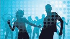 迪斯科舞廳的男性和女性的輪廓和周圍的背景矢量素材