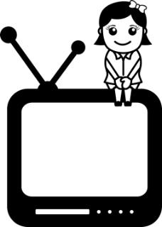 电视辅助办公人物插画矢量
