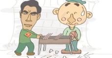 经典喜剧的烤羊肉串的卡通人物矢量素材