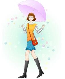 打伞的美女
