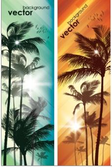 棕榈树光线矢量图