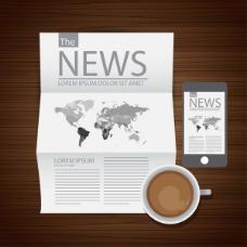 报纸和咖啡矢量图