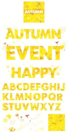 金色的秋天主题英文字母矢量素材