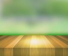 绿色背景的木台