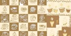 可爱的手绘咖啡元素矢量素材