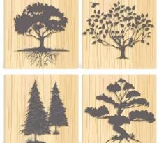 一组木材树木剪影矢量背景材料